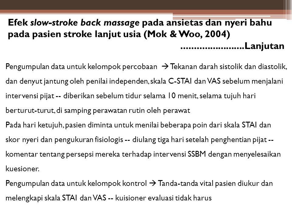 Efek slow-stroke back massage pada ansietas dan nyeri bahu pada pasien stroke lanjut usia (Mok & Woo, 2004)........................Lanjutan Pengumpula