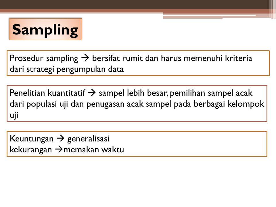 Sampling Prosedur sampling  bersifat rumit dan harus memenuhi kriteria dari strategi pengumpulan data Penelitian kuantitatif  sampel lebih besar, pe