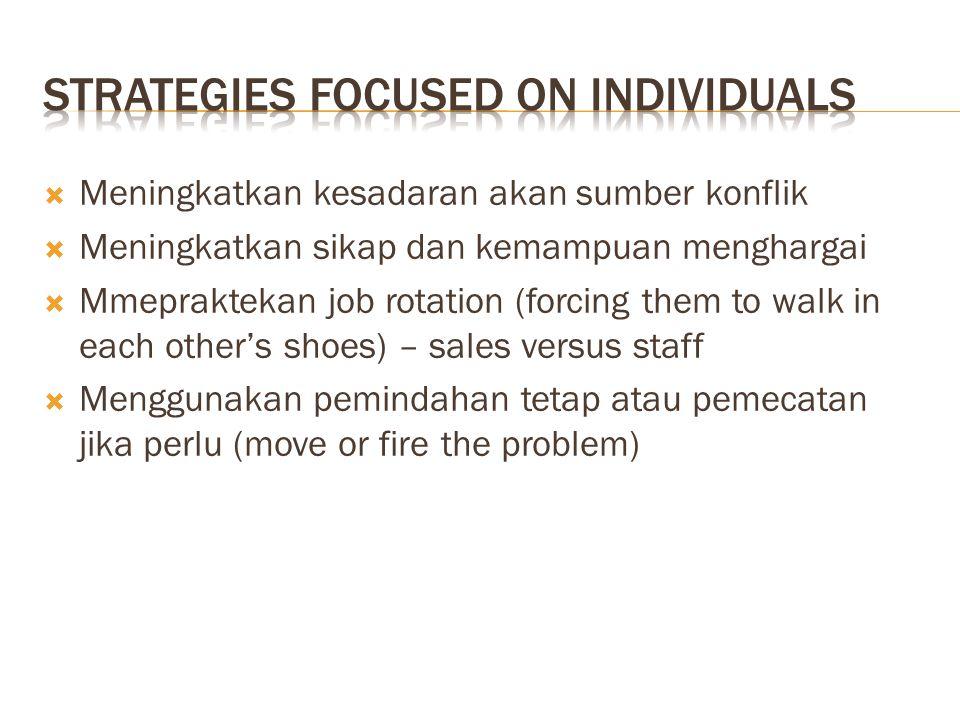  Meningkatkan kesadaran akan sumber konflik  Meningkatkan sikap dan kemampuan menghargai  Mmepraktekan job rotation (forcing them to walk in each o