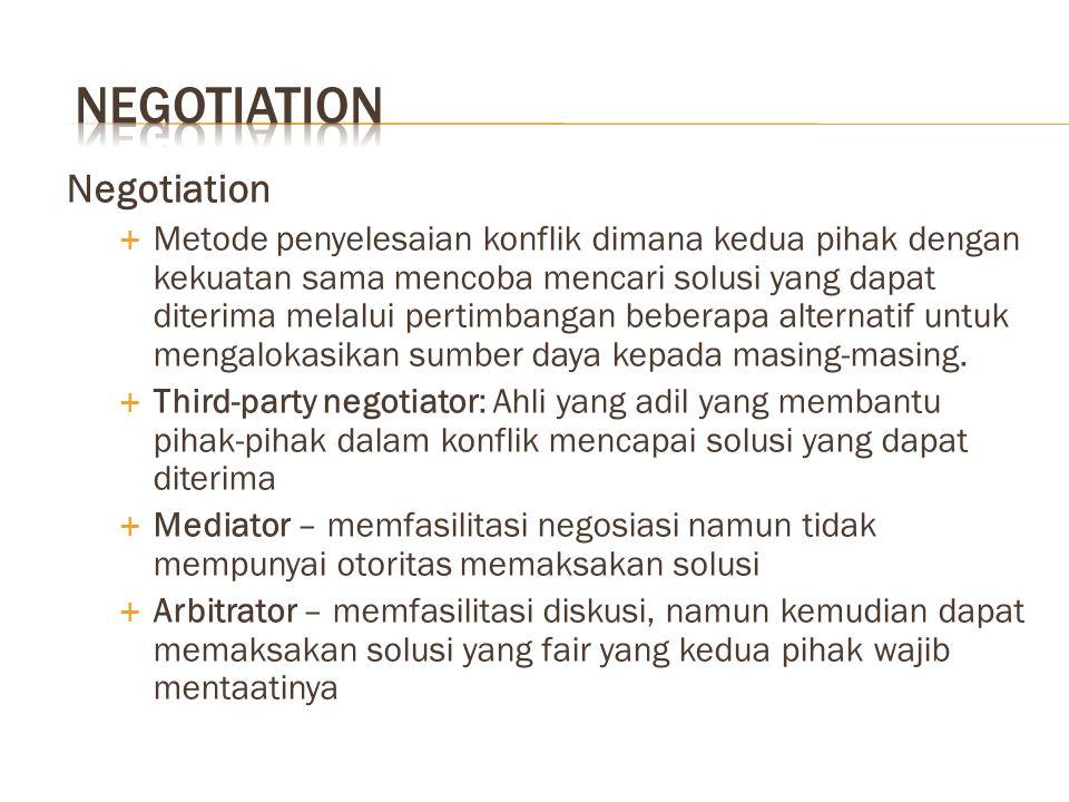 Negotiation  Metode penyelesaian konflik dimana kedua pihak dengan kekuatan sama mencoba mencari solusi yang dapat diterima melalui pertimbangan beberapa alternatif untuk mengalokasikan sumber daya kepada masing-masing.