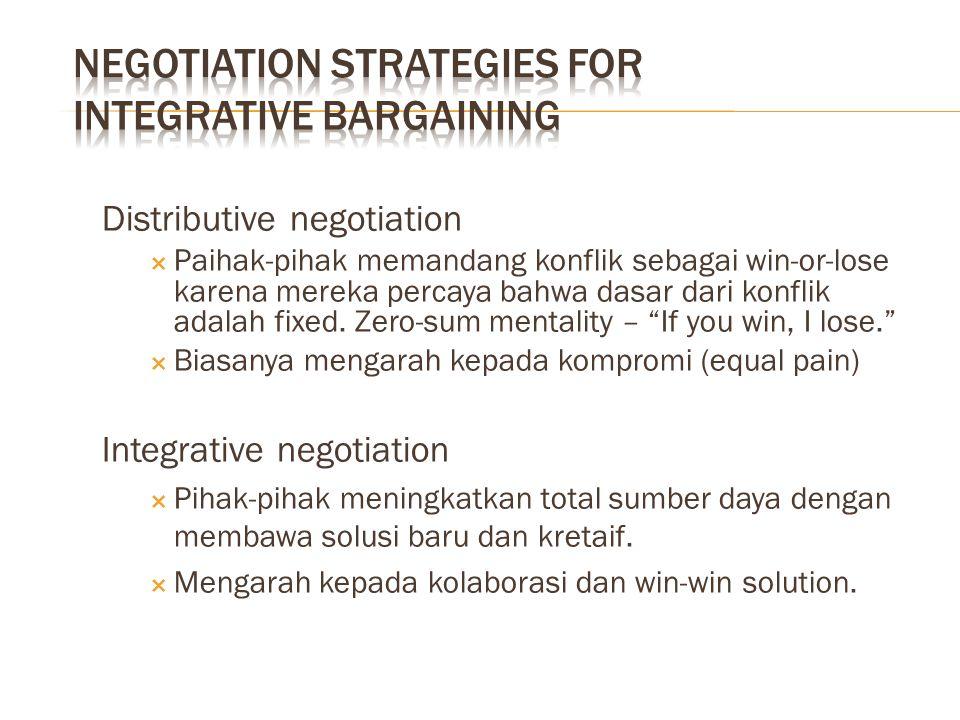Distributive negotiation  Paihak-pihak memandang konflik sebagai win-or-lose karena mereka percaya bahwa dasar dari konflik adalah fixed. Zero-sum me