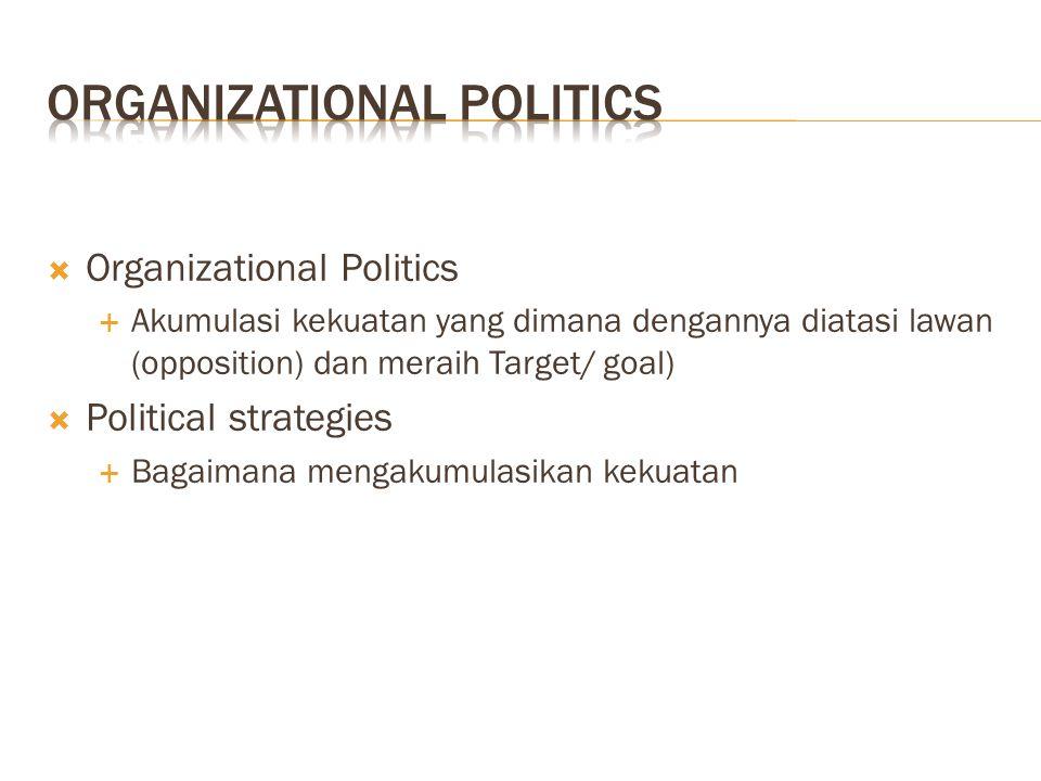  Organizational Politics  Akumulasi kekuatan yang dimana dengannya diatasi lawan (opposition) dan meraih Target/ goal)  Political strategies  Bagaimana mengakumulasikan kekuatan