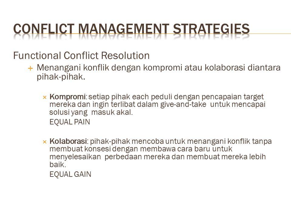 Functional Conflict Resolution  Menangani konflik dengan kompromi atau kolaborasi diantara pihak-pihak.  Kompromi: setiap pihak each peduli dengan p