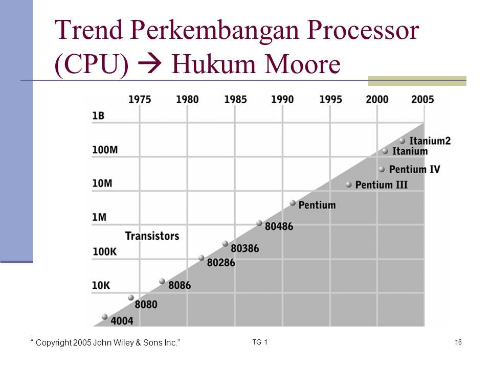 """ Copyright 2005 John Wiley & Sons Inc."" TG 116 Trend Perkembangan Processor (CPU)  Hukum Moore"