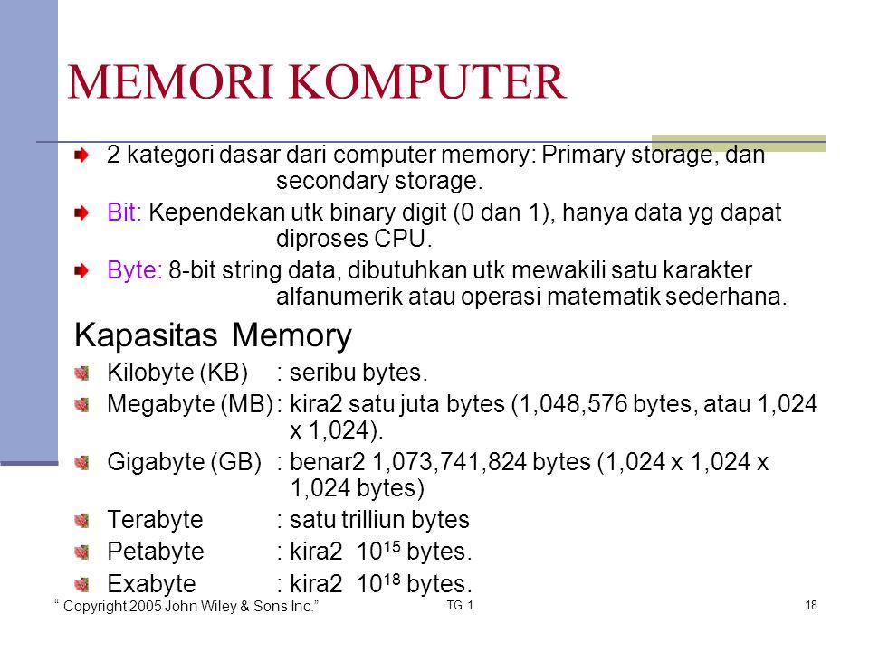 """"""" Copyright 2005 John Wiley & Sons Inc."""" TG 118 2 kategori dasar dari computer memory: Primary storage, dan secondary storage. Bit: Kependekan utk bin"""