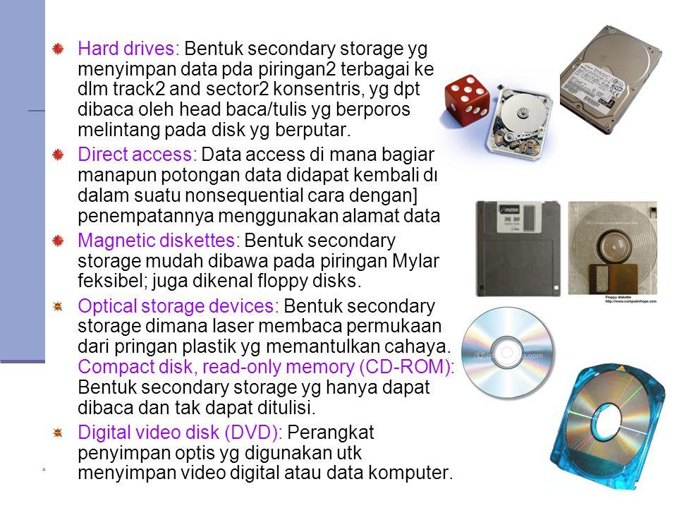 """ Copyright 2005 John Wiley & Sons Inc."" TG 122 Hard drives: Bentuk secondary storage yg menyimpan data pda piringan2 terbagai ke dlm track2 and secto"