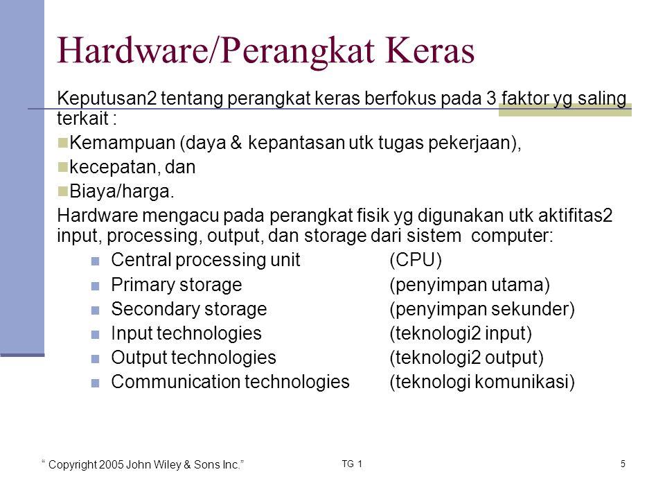 """ Copyright 2005 John Wiley & Sons Inc."" TG 15 Keputusan2 tentang perangkat keras berfokus pada 3 faktor yg saling terkait : Kemampuan (daya & kepanta"