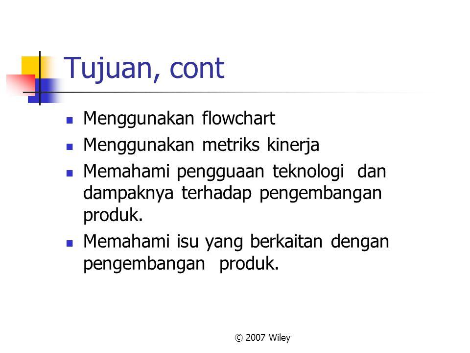 © 2007 Wiley Tujuan, cont Menggunakan flowchart Menggunakan metriks kinerja Memahami pengguaan teknologi dan dampaknya terhadap pengembangan produk. M