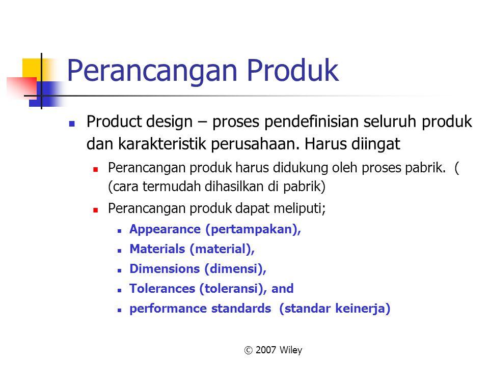 © 2007 Wiley Perancangan Produk Product design – proses pendefinisian seluruh produk dan karakteristik perusahaan. Harus diingat Perancangan produk ha