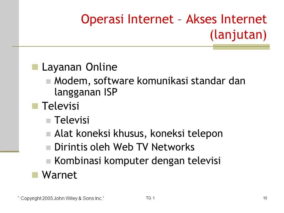 """"""" Copyright 2005 John Wiley & Sons Inc."""" TG 110 Operasi Internet – Akses Internet (lanjutan) Layanan Online Modem, software komunikasi standar dan lan"""