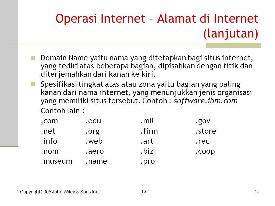 Copyright 2005 John Wiley & Sons Inc. TG 112 Operasi Internet – Alamat di Internet (lanjutan) Domain Name yaitu nama yang ditetapkan bagi situs internet, yang tediri atas beberapa bagian, dipisahkan dengan titik dan diterjemahkan dari kanan ke kiri.