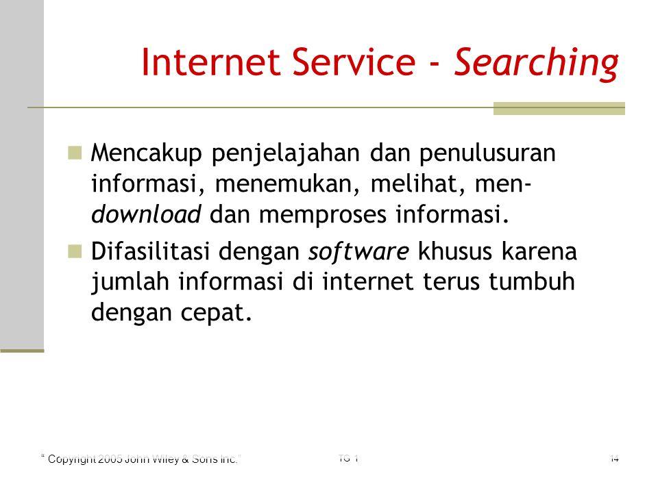 Copyright 2005 John Wiley & Sons Inc. TG 114 Internet Service - Searching Mencakup penjelajahan dan penulusuran informasi, menemukan, melihat, men- download dan memproses informasi.