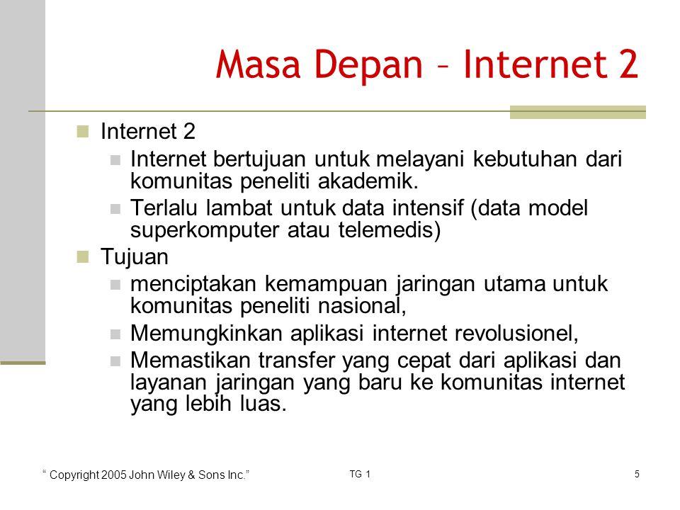 Copyright 2005 John Wiley & Sons Inc. TG 15 Masa Depan – Internet 2 Internet 2 Internet bertujuan untuk melayani kebutuhan dari komunitas peneliti akademik.