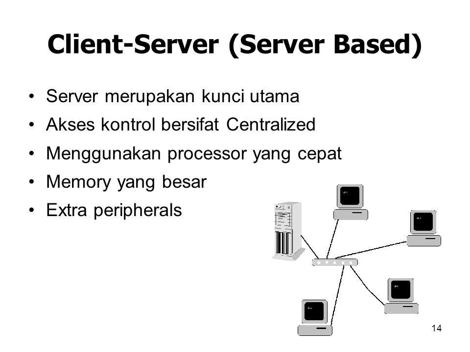 14 Client-Server (Server Based) Server merupakan kunci utama Akses kontrol bersifat Centralized Menggunakan processor yang cepat Memory yang besar Ext