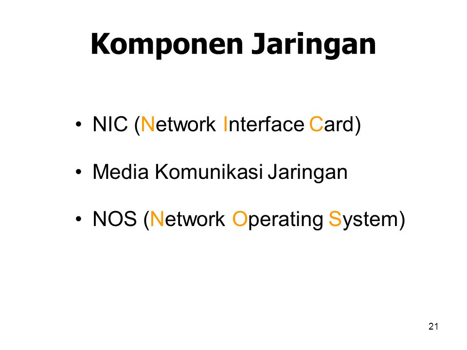 21 Komponen Jaringan NIC (Network Interface Card) Media Komunikasi Jaringan NOS (Network Operating System)