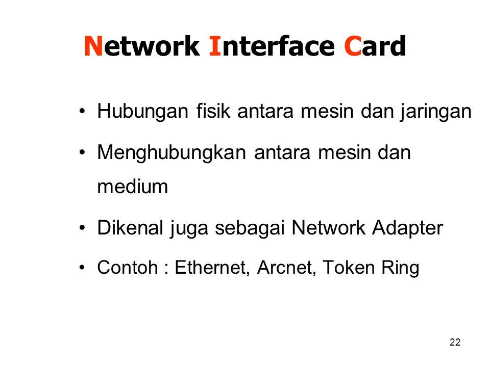22 Network Interface Card Hubungan fisik antara mesin dan jaringan Menghubungkan antara mesin dan medium Dikenal juga sebagai Network Adapter Contoh :