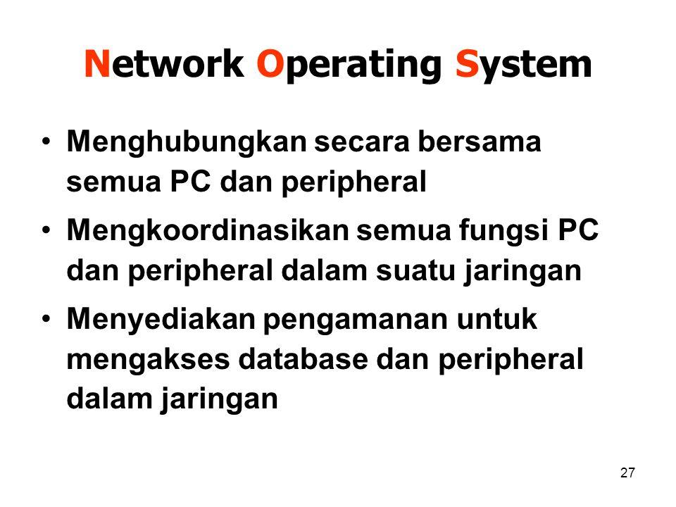 27 Network Operating System Menghubungkan secara bersama semua PC dan peripheral Mengkoordinasikan semua fungsi PC dan peripheral dalam suatu jaringan