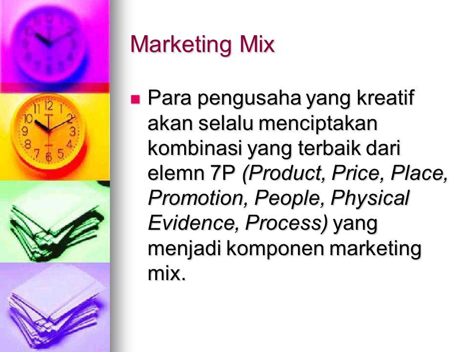 Marketing Mix Para pengusaha yang kreatif akan selalu menciptakan kombinasi yang terbaik dari elemn 7P (Product, Price, Place, Promotion, People, Phys