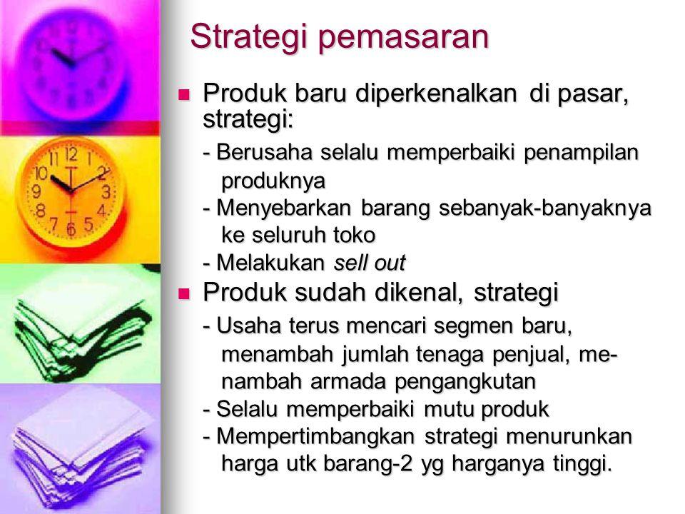 Strategi pemasaran Produk baru diperkenalkan di pasar, strategi: Produk baru diperkenalkan di pasar, strategi: - Berusaha selalu memperbaiki penampila