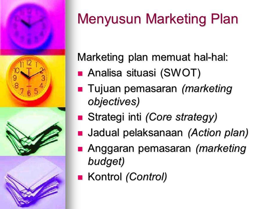 Menyusun Marketing Plan Marketing plan memuat hal-hal: Analisa situasi (SWOT) Analisa situasi (SWOT) Tujuan pemasaran (marketing objectives) Tujuan pe