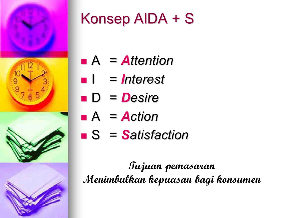 Konsep AIDA + S A= Attention A= Attention I= Interest I= Interest D= Desire D= Desire A= Action A= Action S= Satisfaction S= Satisfaction Tujuan pemas