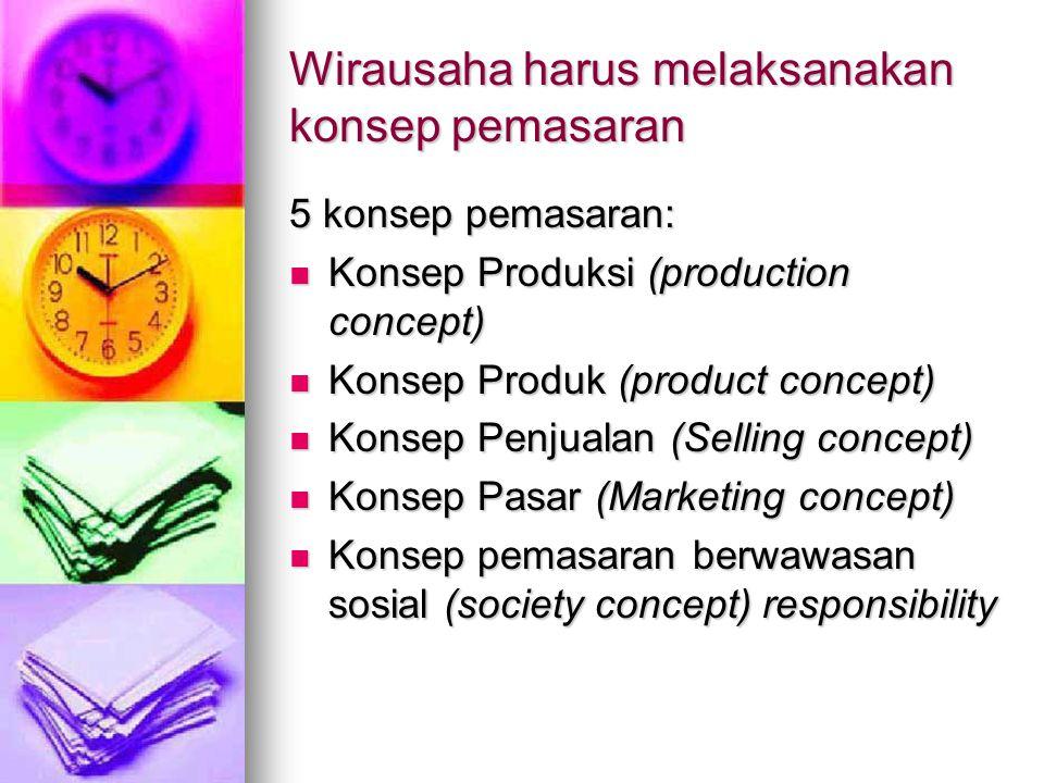 Wirausaha harus melaksanakan konsep pemasaran 5 konsep pemasaran: Konsep Produksi (production concept) Konsep Produksi (production concept) Konsep Pro