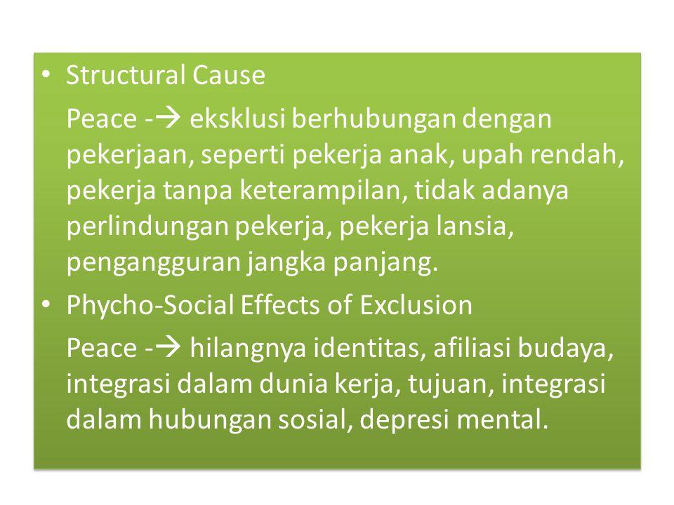 Structural Cause Peace -  eksklusi berhubungan dengan pekerjaan, seperti pekerja anak, upah rendah, pekerja tanpa keterampilan, tidak adanya perlindungan pekerja, pekerja lansia, pengangguran jangka panjang.