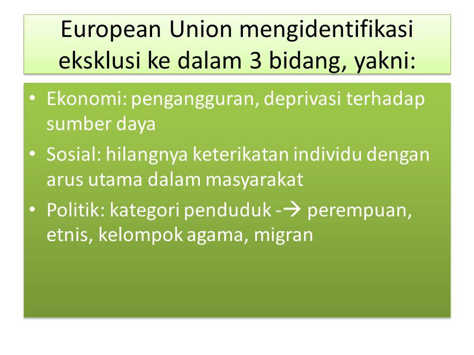 European Union mengidentifikasi eksklusi ke dalam 3 bidang, yakni: Ekonomi: pengangguran, deprivasi terhadap sumber daya Sosial: hilangnya keterikatan individu dengan arus utama dalam masyarakat Politik: kategori penduduk -  perempuan, etnis, kelompok agama, migran Ekonomi: pengangguran, deprivasi terhadap sumber daya Sosial: hilangnya keterikatan individu dengan arus utama dalam masyarakat Politik: kategori penduduk -  perempuan, etnis, kelompok agama, migran