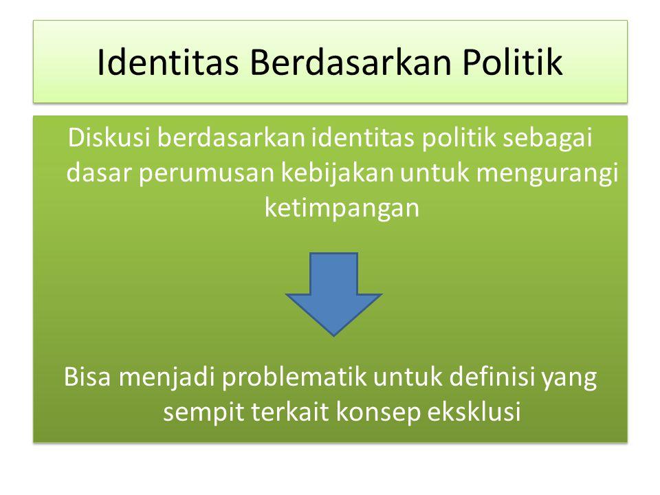 Identitas Berdasarkan Politik Diskusi berdasarkan identitas politik sebagai dasar perumusan kebijakan untuk mengurangi ketimpangan Bisa menjadi problematik untuk definisi yang sempit terkait konsep eksklusi Diskusi berdasarkan identitas politik sebagai dasar perumusan kebijakan untuk mengurangi ketimpangan Bisa menjadi problematik untuk definisi yang sempit terkait konsep eksklusi