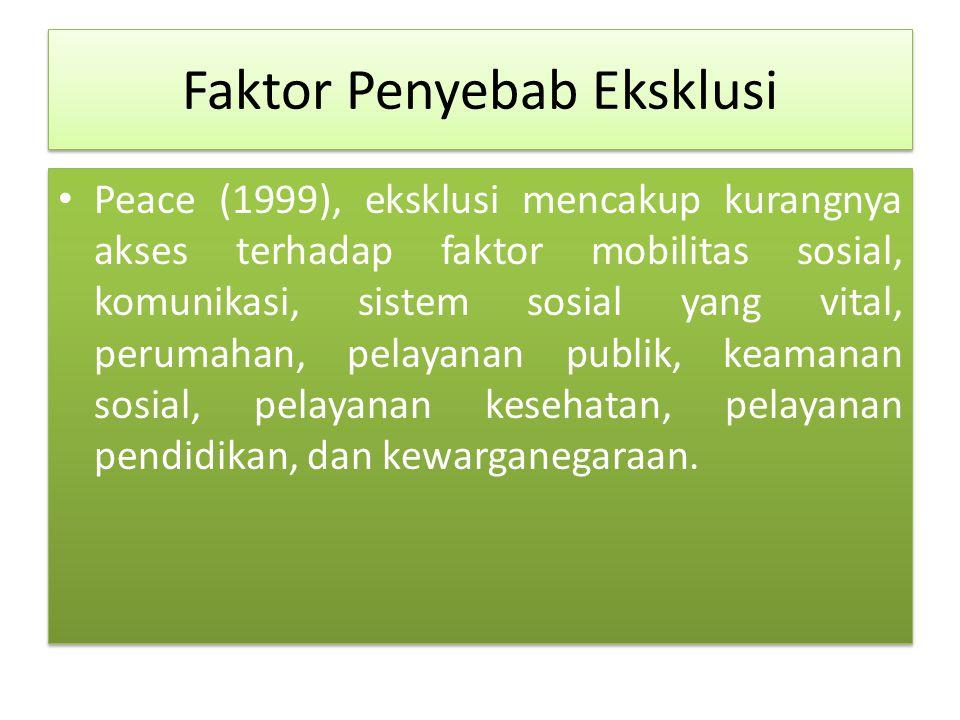 Faktor Penyebab Eksklusi Peace (1999), eksklusi mencakup kurangnya akses terhadap faktor mobilitas sosial, komunikasi, sistem sosial yang vital, perumahan, pelayanan publik, keamanan sosial, pelayanan kesehatan, pelayanan pendidikan, dan kewarganegaraan.