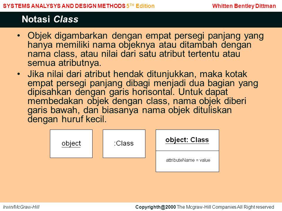 Objek digambarkan dengan empat persegi panjang yang hanya memiliki nama objeknya atau ditambah dengan nama class, atau nilai dari satu atribut tertentu atau semua atributnya.