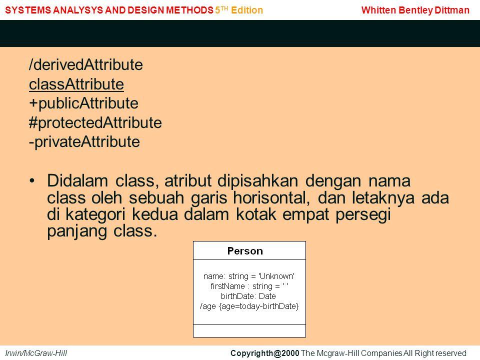 /derivedAttribute classAttribute +publicAttribute #protectedAttribute -privateAttribute Didalam class, atribut dipisahkan dengan nama class oleh sebuah garis horisontal, dan letaknya ada di kategori kedua dalam kotak empat persegi panjang class.