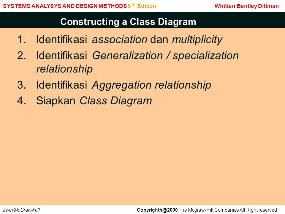 1.Identifikasi association dan multiplicity 2.Identifikasi Generalization / specialization relationship 3.Identifikasi Aggregation relationship 4.Siapkan Class Diagram SYSTEMS ANALYSYS AND DESIGN METHODS 5 TH Edition Whitten Bentley Dittman Irwin/McGraw-Hill Copyrighth@2000 The Mcgraw-Hill Companies All Right reserved Constructing a Class Diagram