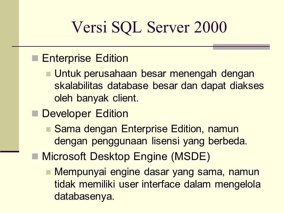 Versi SQL Server 2000 Enterprise Edition Untuk perusahaan besar menengah dengan skalabilitas database besar dan dapat diakses oleh banyak client. Deve