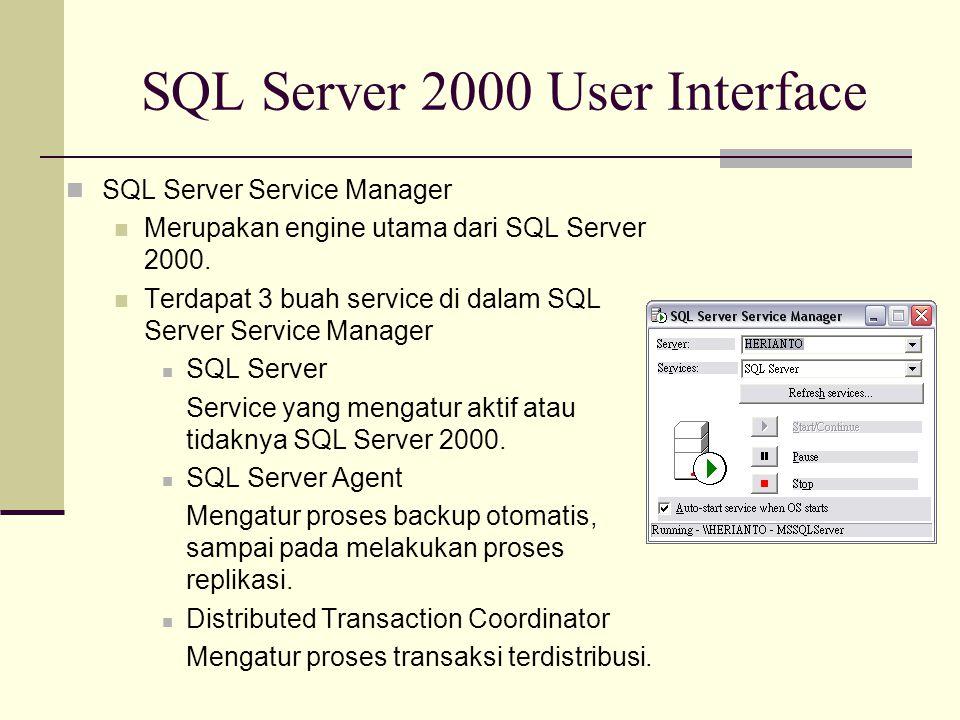 SQL Server 2000 User Interface SQL Server Service Manager Merupakan engine utama dari SQL Server 2000. Terdapat 3 buah service di dalam SQL Server Ser