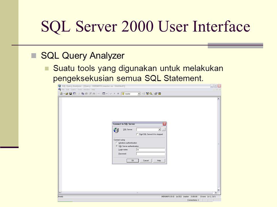 SQL Server 2000 User Interface SQL Query Analyzer Suatu tools yang digunakan untuk melakukan pengeksekusian semua SQL Statement.