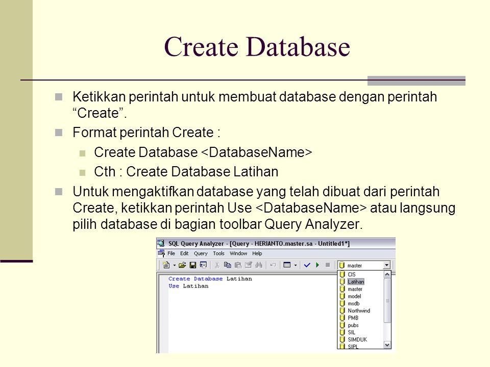 """Create Database Ketikkan perintah untuk membuat database dengan perintah """"Create"""". Format perintah Create : Create Database Cth : Create Database Lati"""