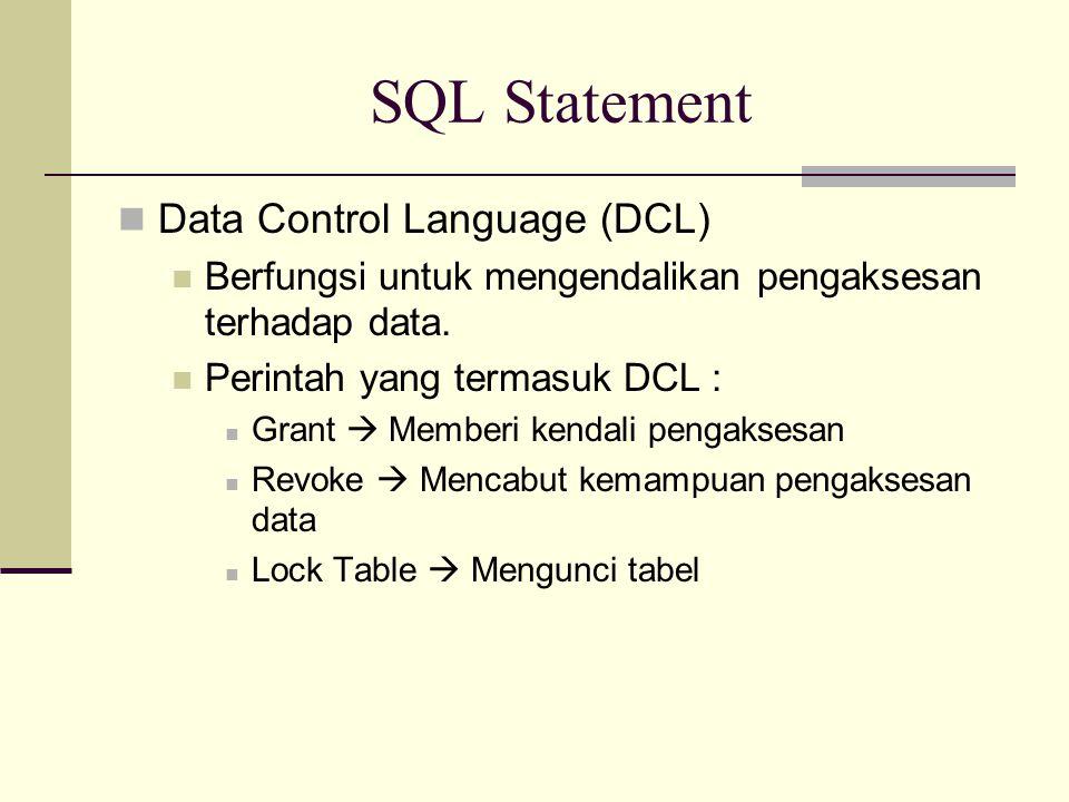 SQL Statement Data Control Language (DCL) Berfungsi untuk mengendalikan pengaksesan terhadap data. Perintah yang termasuk DCL : Grant  Memberi kendal