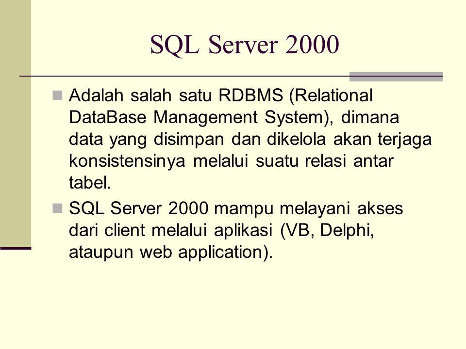 SQL Server 2000 Adalah salah satu RDBMS (Relational DataBase Management System), dimana data yang disimpan dan dikelola akan terjaga konsistensinya melalui suatu relasi antar tabel.