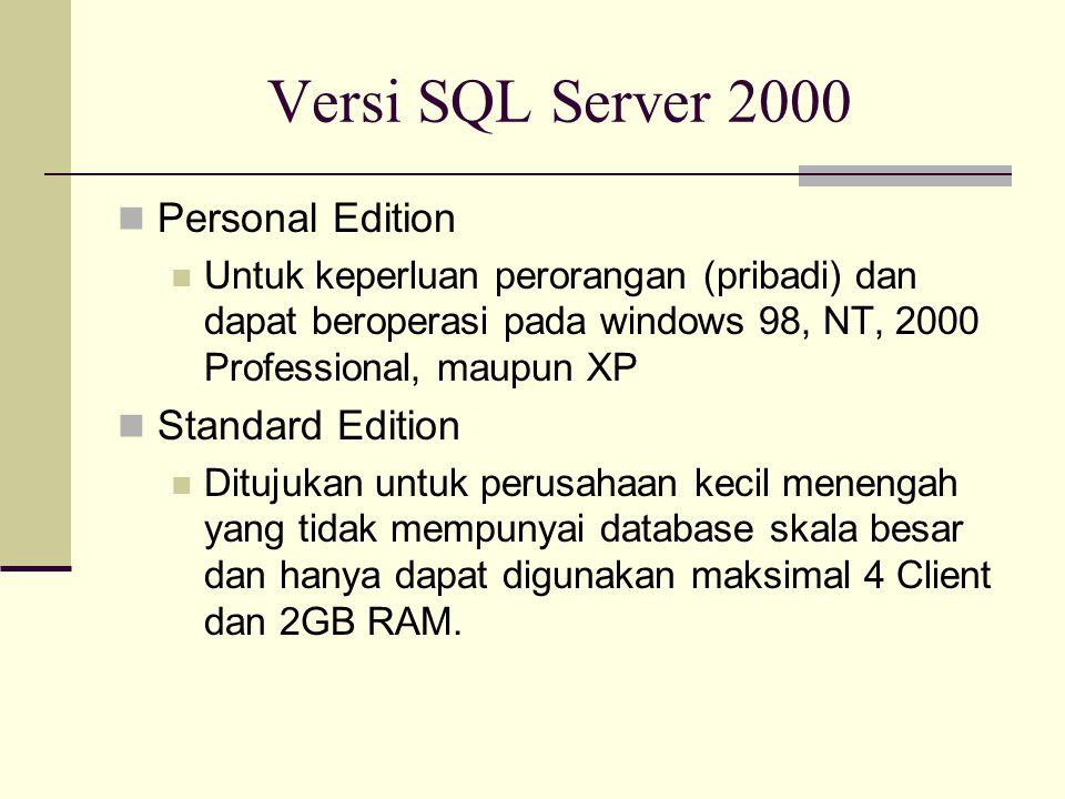 Versi SQL Server 2000 Personal Edition Untuk keperluan perorangan (pribadi) dan dapat beroperasi pada windows 98, NT, 2000 Professional, maupun XP Sta