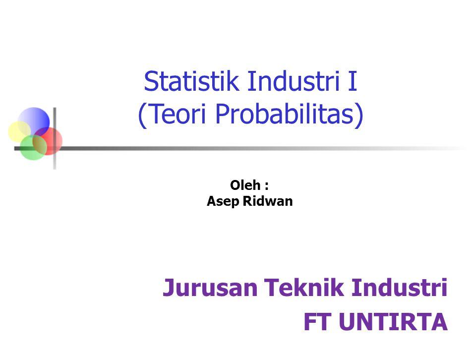 Statistik Industri I (Teori Probabilitas) Oleh : Asep Ridwan Jurusan Teknik Industri FT UNTIRTA
