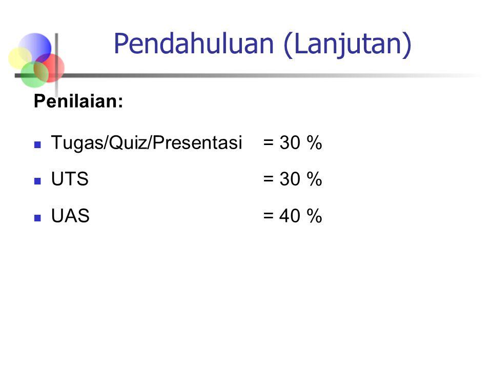 Pendahuluan (Lanjutan) Penilaian: Tugas/Quiz/Presentasi= 30 % UTS = 30 % UAS= 40 %