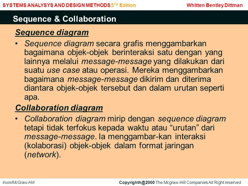 Sequence diagram Sequence diagram secara grafis menggambarkan bagaimana objek-objek berinteraksi satu dengan yang lainnya melalui message-message yang