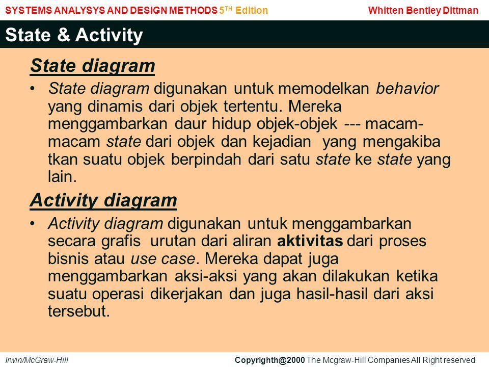 State diagram State diagram digunakan untuk memodelkan behavior yang dinamis dari objek tertentu. Mereka menggambarkan daur hidup objek-objek --- maca