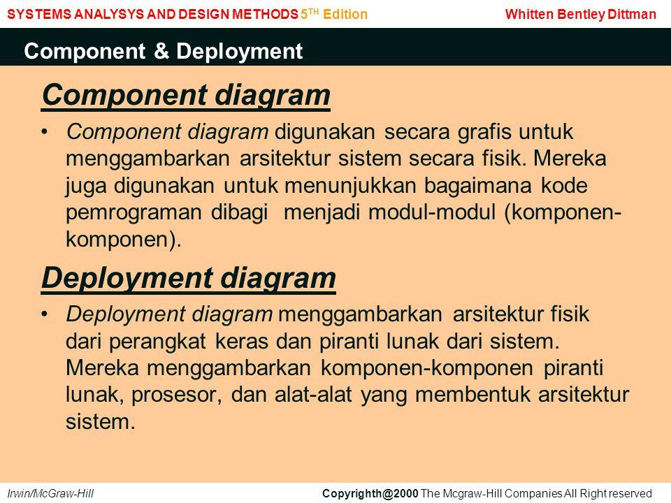 Component diagram Component diagram digunakan secara grafis untuk menggambarkan arsitektur sistem secara fisik. Mereka juga digunakan untuk menunjukka