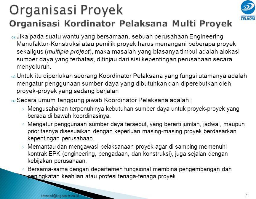 bramand@bdg.centrin.net.id8  Jika ditinjau secara luas, Tim Proyek adalah semua pihak yang berkepentingan dan terlibat dalam penyelenggaraan dan hasil proyek, disebut juga Stake Holder.