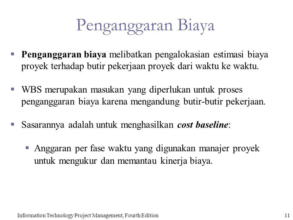 11Information Technology Project Management, Fourth Edition Penganggaran Biaya  Penganggaran biaya melibatkan pengalokasian estimasi biaya proyek ter
