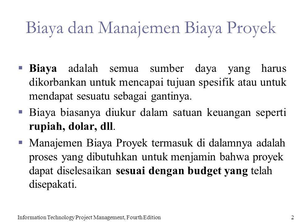 2 Biaya dan Manajemen Biaya Proyek  Biaya adalah semua sumber daya yang harus dikorbankan untuk mencapai tujuan spesifik atau untuk mendapat sesuatu sebagai gantinya.