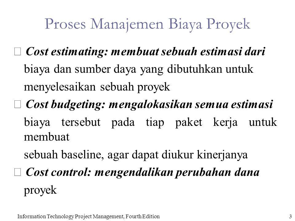 3Information Technology Project Management, Fourth Edition Proses Manajemen Biaya Proyek  Cost estimating: membuat sebuah estimasi dari biaya dan sum