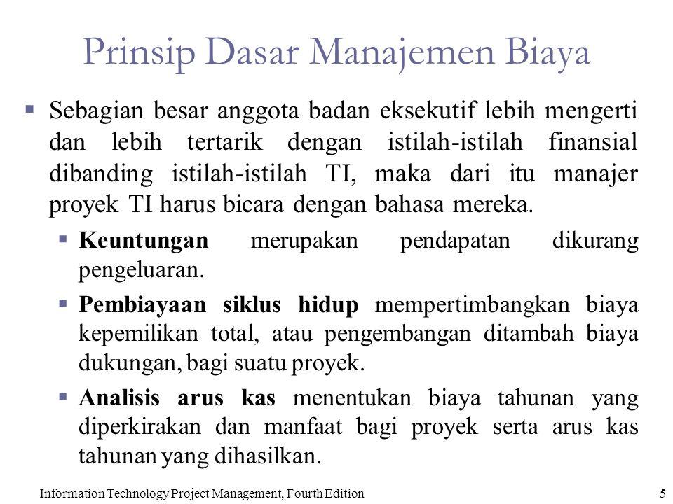 5 Prinsip Dasar Manajemen Biaya  Sebagian besar anggota badan eksekutif lebih mengerti dan lebih tertarik dengan istilah-istilah finansial dibanding